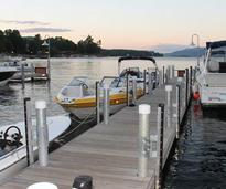 a few boats at a dock