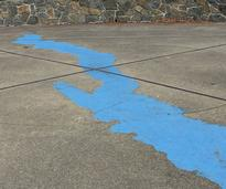 silhouette of lake on cement