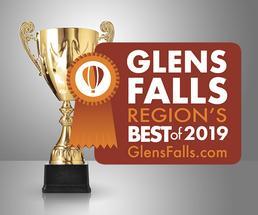 trophy with 2019 glens falls region's best badge