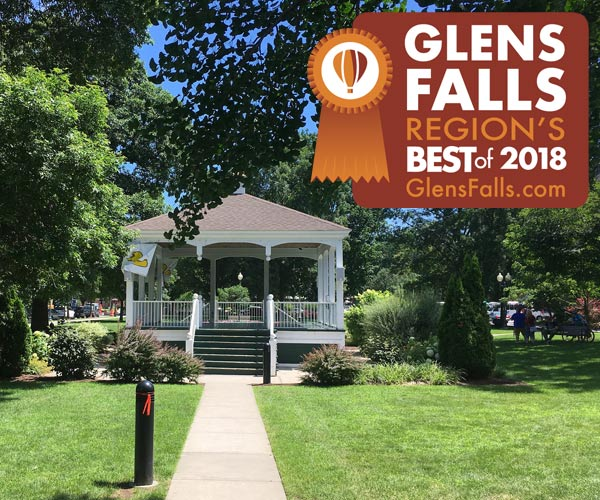 gazebo in glens falls with region's best badge