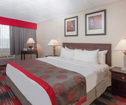 hotel room with red accents