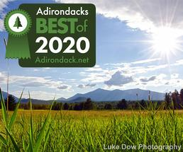 sunny field with adirondack mountains in the background