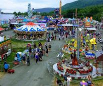 an aerial view of a fair