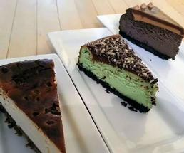 three cheesecake slices