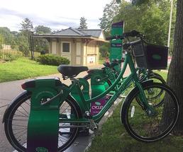 rack of green rental bikes