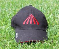 black hat with red saratoga race course logo on grass