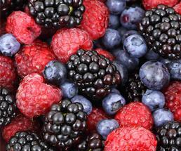 blueberries, blackberries, and rasbperries