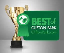 gold trophy with green best of clifton park badge