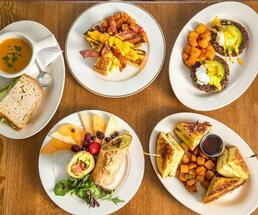 several plates of brunch food