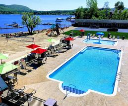 pool area in front of lake george