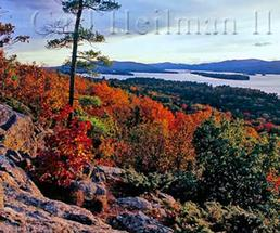 view of fall foliage from rocky ledge