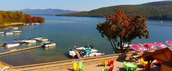 fall foliage and view of lake george