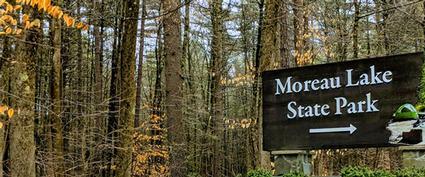 moreau state park sign with fall foliage