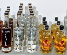 liquor bottles on a table