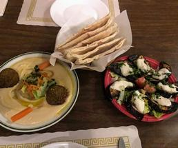 hummus, pita pockets, and grilled zucchini