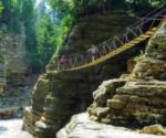 two people on a high bridge