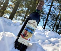 bottle of wine in the snow