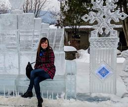 girl on ice bench