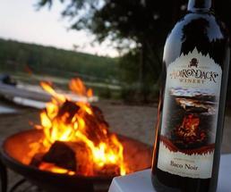 wine bottle by bonfire