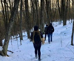 group hiking in the winter