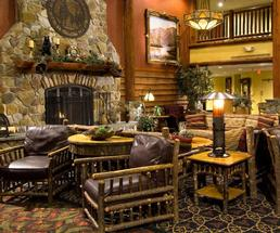 rustic lobby in hotel lodge