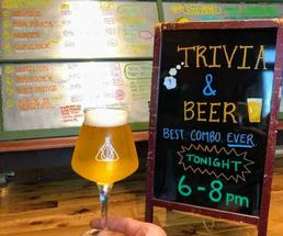trivia and beer sign, and beer