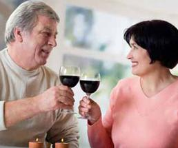 man and woman with wine