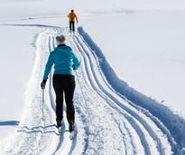 two people cross-country skiing