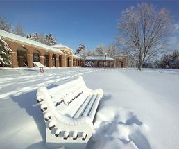 snowy bench in saratoga spa state park