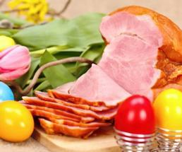 sliced ham and easter egg decor