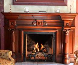 fireplace at union gables inn