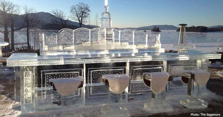 ice bar on the shore of lake george