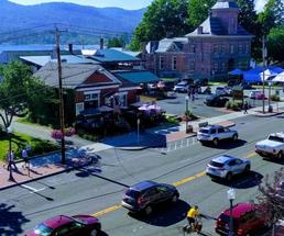 aerial view of street in Lake George