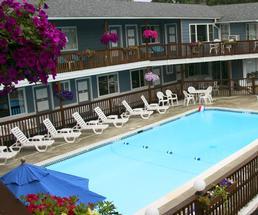 pool by a motel