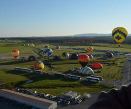 balloons launching at a hot air balloon festival