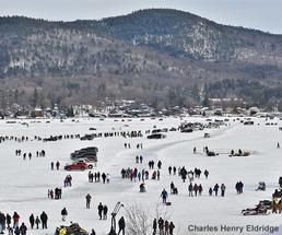 cars on the ice at lake george winter carnival