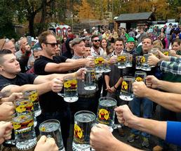 people participating in a stein hoisting competition