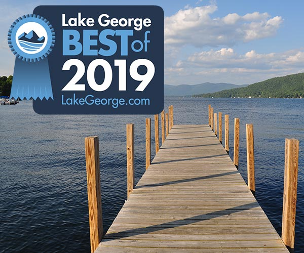 dock with 2019 best of lake george badge