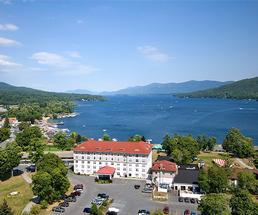 view of lake george and the fort william henry hotel
