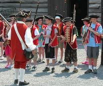 kids participating in a reenactment at fort william henry