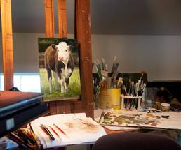cow painting in studio