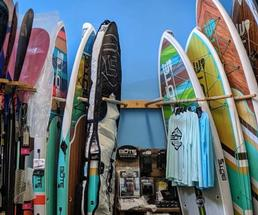 paddleboards in shop