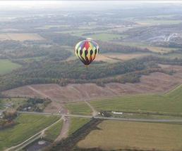 a hot air balloon in the air