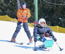 an adaptive skier