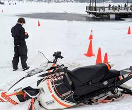 snowmobile at a winter carnival