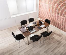 table and chairs in an office space