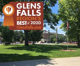 park in downtown glens falls with a 2020 region's best badge