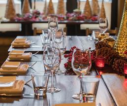 boca bistro table set for a holiday party