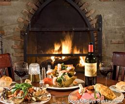 dinner table in front of a fireplace