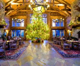 christmas tree in the lobby of an adirondack restaurant